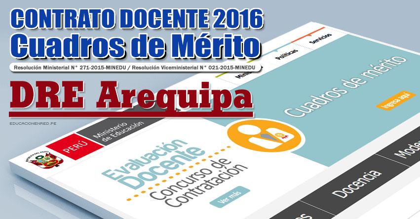 GRE Arequipa: Cuadros de Mérito para Contrato Docente 2016 (Resultados 22 Enero) - www.grearequipa.gob.pe