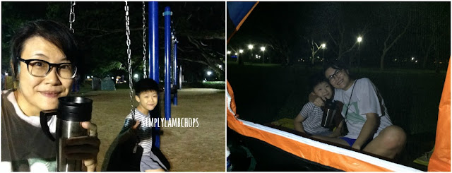 Chilling at Pasir Ris Park playground with son at midnight.