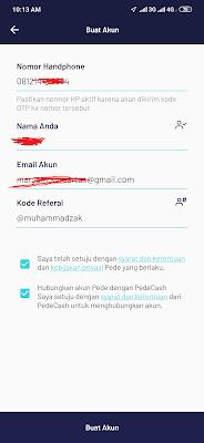 cara membuat akun dari aplikasi Pede Android