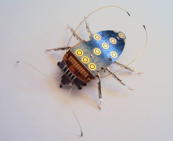 Julie Alice Chappell esculturas insetos mecânicos circuitos computador lixo reciclado metal videogame cores asas borboletas mosquitos
