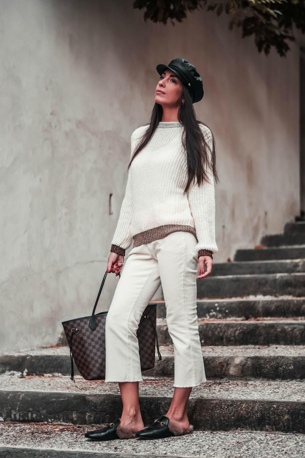 pantaloni cropped velluto