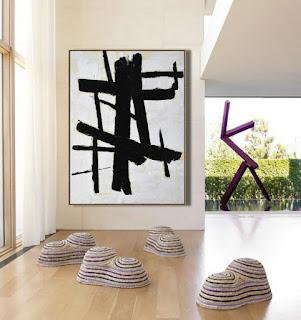 Minimal Painting Black and White Art