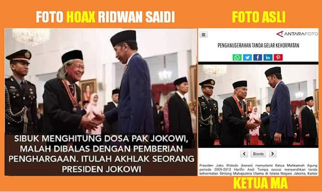 Ulah Jokower: Foto HOAX Jokowi Beri Penghargaan kepada Ridwan Saidi