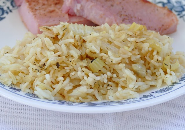 Oven Baked Rice Pilaf on plate