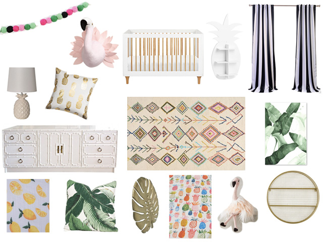 I M Dreaming Of A Tropical Garden Nursery Full Light Pink White Natural Wood Tones Yellow Green And Little Bit Black