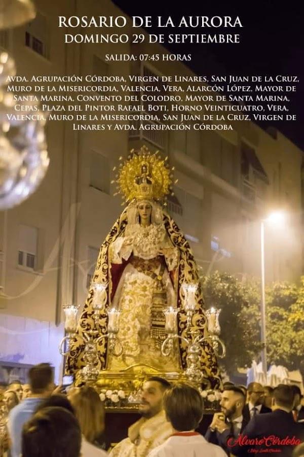 Cartel anunciador del Rosario de la Aurora con la Imagen de Nuestra Señora de la Merced de Córdoba