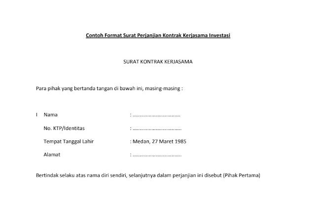 Contoh Surat Perjanjian Kontrak Kerjasama Investasi Contoh Surat