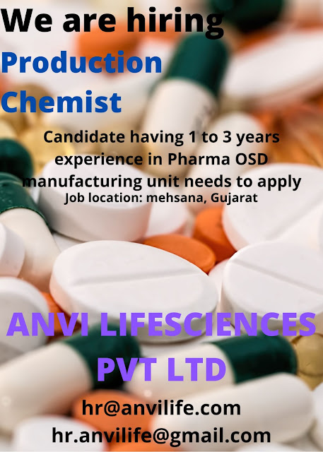 Anvi Lifesciences Pvt Ltd Urgent Openings for Production Chemist Apply Now