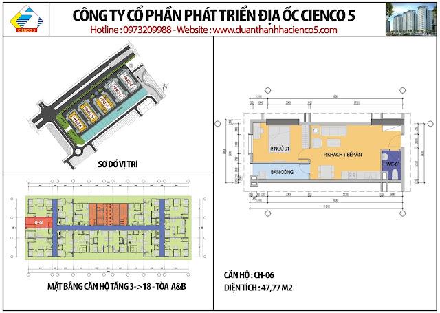 Mặt bằng căn hộ CH06 tầng 3-18 tòa HH02A&B