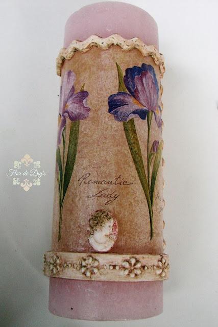 vela-decorada-con-relieves-decoupage-y-pátinas-flor-de-diys
