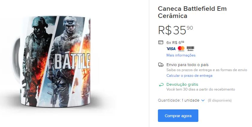 Caneca Battlefield Ceramica
