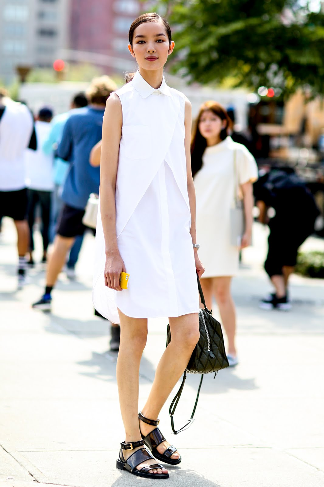 oriental model off duty look fashion blogger white shirt dress chic ootd outfit