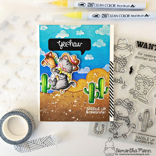 Yee-haw Birthday Card by Samantha Mann | Newton Rides West Stamp Set, Speech Bubbles Die Set, Cloudy Sky Stencil and Land and Sea Border Die Sets by Newton's Nook Designs