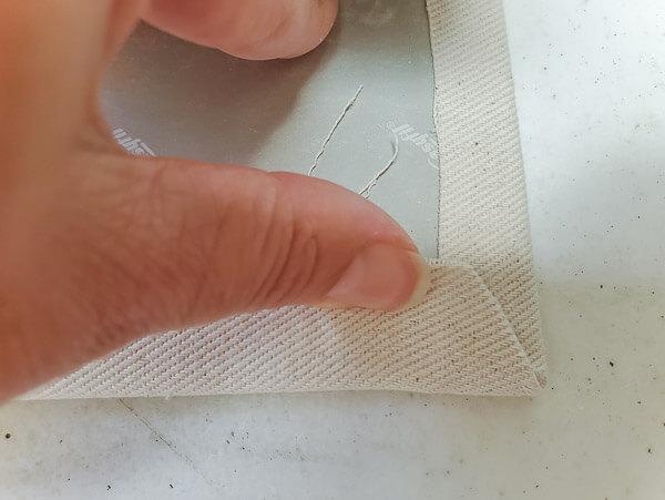 fold over fabric on corners