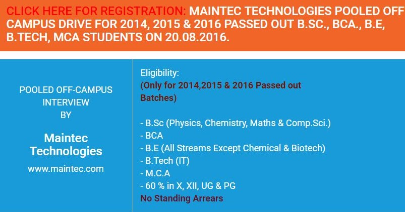 Maintec Technologies Freshers Offcampus Drive Entry Level
