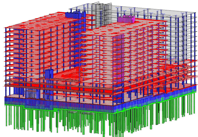 FOUR REBAR REVIT MODELS LINKED TOGETHER, COLOR-CODED BY MODEL