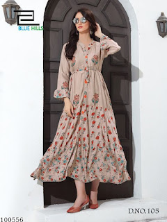 Foil Print Heavy Rayon Gown