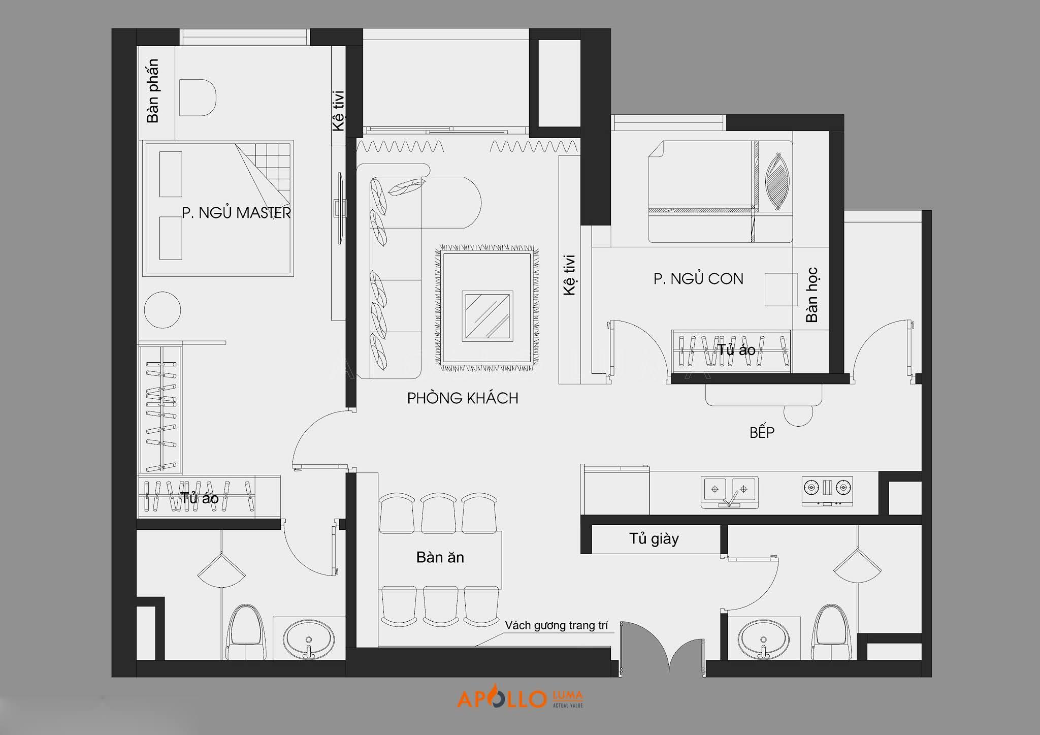 Mặt bằng Thiết kế nội thất căn hộ 2 phòng ngủ (82m2) Imperia Sky Garden 423 Minh Khai