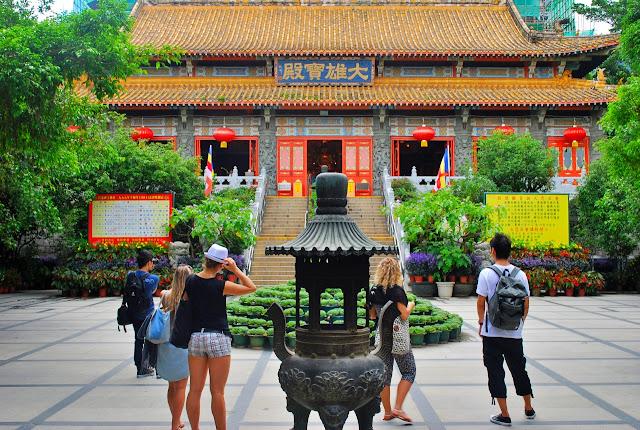 Gretchen Filart looking at the Tian Tan Buddha Hong Kong