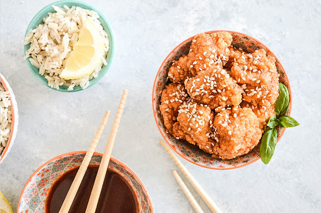 Korean style fried chicken and lemon rice