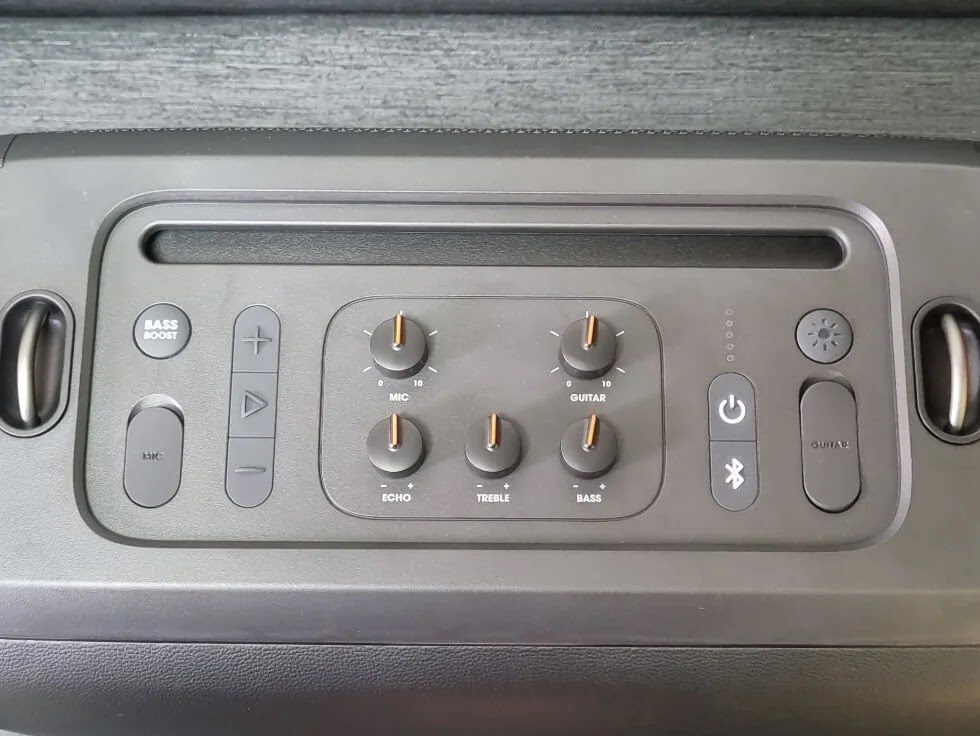 JBL PartyBox On-the-Go Buttons, Controls, and Ports