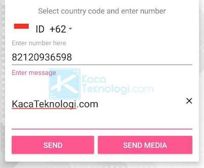 Karena WhatsDirect sudah menyertakan kode negara, maka Anda tidak perlu menuliskan angka 62 lagi di awal nomor. Langsung saja tulis dimulai dari angka 8. Anda juga bisa menambahkan pesan langsung pada aplikasi tersebut.