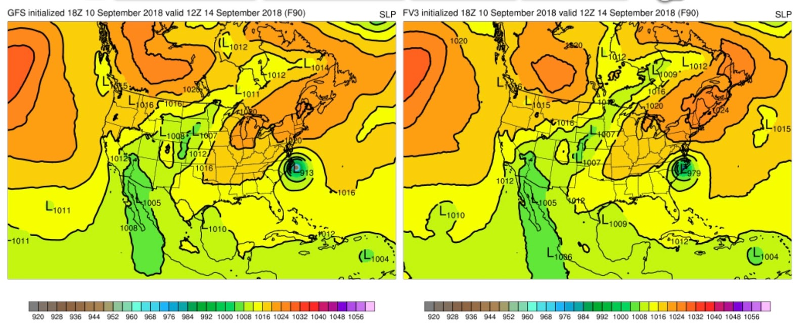 and the forecast two days later are stunningly difference the gfs has a very deep low 913 hpa hanging around on the coast but the fv 3 has weakened and
