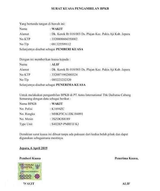 Contoh Surat Kuasa Pengambilan BPKB (via: cintamobil.com)
