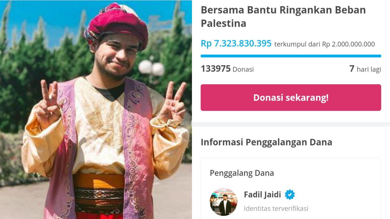 Donasi Tembus Rp 7 Miliar, Fadil Jaidi Menggalang Dana untuk Palestina