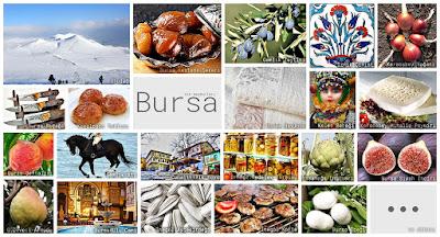 Bursa'nın meşhur şeylerini gösteren resimlerden oluşan kolaj