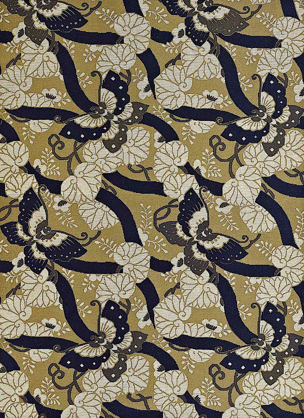 old textile Japan with brown butterfies