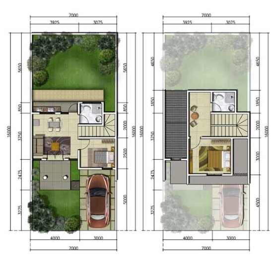 denah rumah minimalis ukuran 7x16 m, 2 kamar tidur