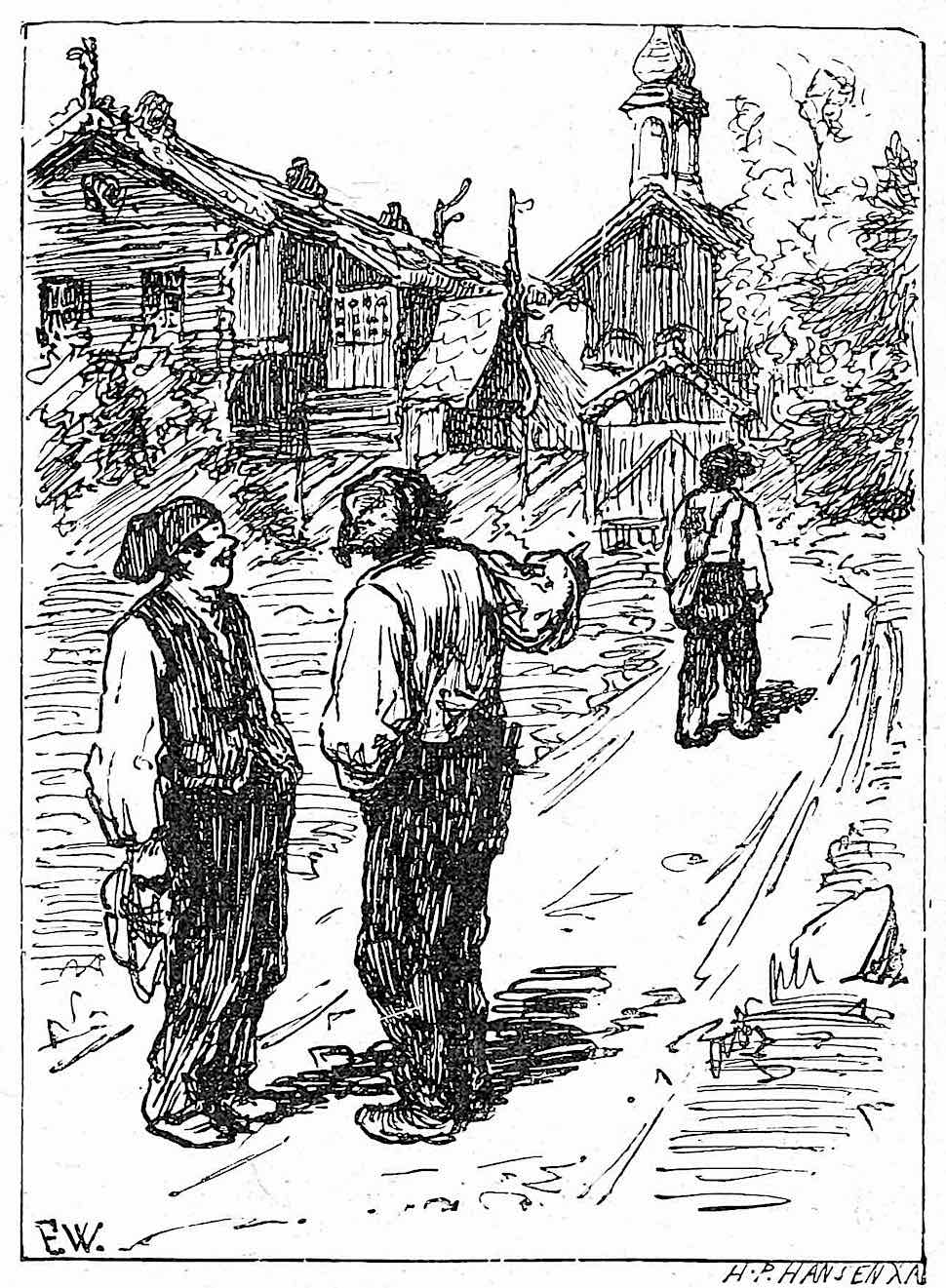 a drawing by Peter Christen Asbjørnsen 1909, of two men laughing and criticizing a third man