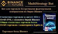 MultiStrategy Bot для торговли бессрочными фьючерсными контрактами на бирже Binance - статистика торговли ботом за август  2021 года + PNL