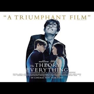 Portada de la película: La teoría del todo. Se muestra a su pareja protagonista, los créditos y el texto: A Triumphant Film