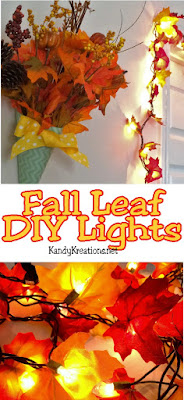 Bring the color of fall into your home with these beautiful fall leaf garland lights.  You can easily make these yourself in just a few minutes and have a lighted fall leaf decoration to celebrate with at Halloween or Thanksgiving this year.