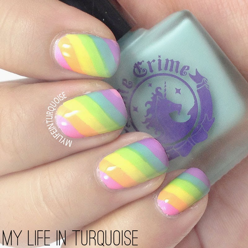 My life in turquoise 31dc2014 day 09 rainbow nails pastel