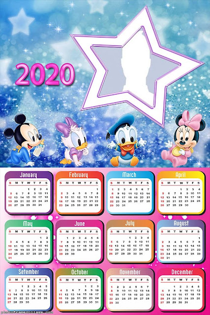 Baby Mickey and His Friends: Free Printable 2020 Calendar.