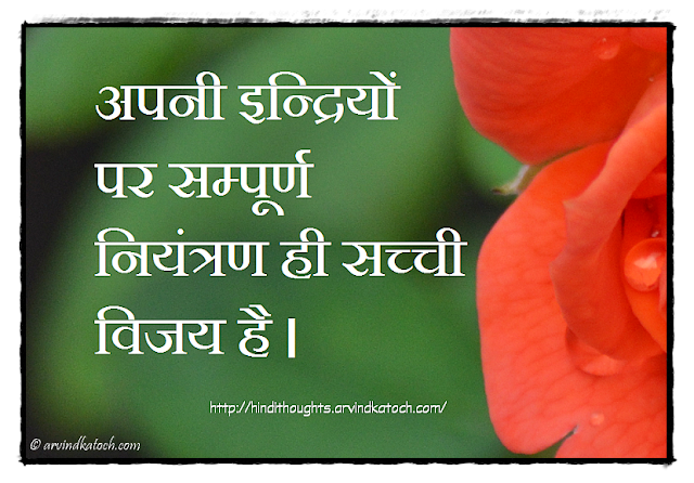 Hindi Thought, Quote, Control, senses, true victory