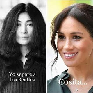 Yoko ono separó a los Beatles y Rachel Meghan a la familia real inglesa