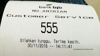 Foto Nomor antrian di BJB Cabang Tasikmalaya.