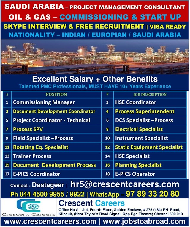 Walk-in job interview for gulf country SAUDI ARABIA At Chennai