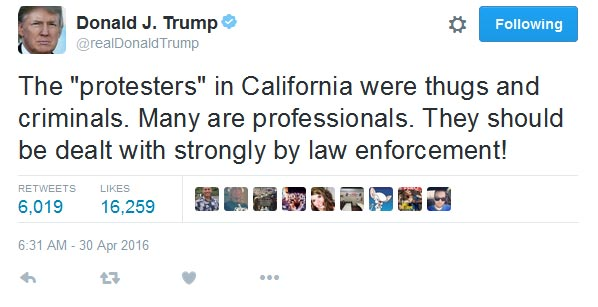 "People Who Held Anti-Trump Rally In California Are ""Thugs And Criminals"" - Donald Trump"