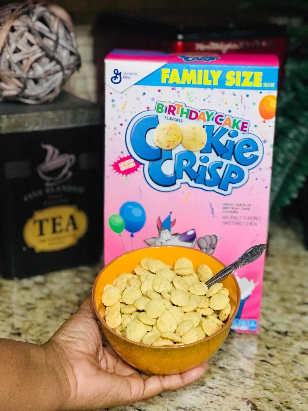 Image: Birthday cookie crisp cereal brough from the Dollar store. Picture taken by Tangie Bell. Used on Bits and Babbles blog