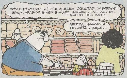 baba oğul alışveriş karikatür