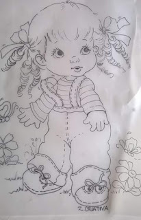 bonequinha para pintar tecidos