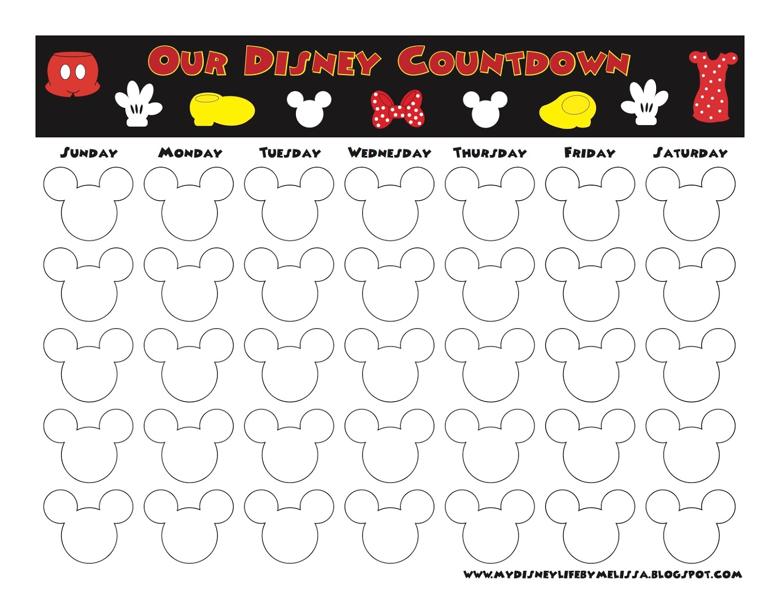 image about Disney Printable Calendar identified as My Disney Daily life: Countdown Calendars