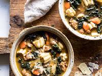 spicy itálián pesto noodle soup.