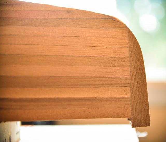 Sun Wind II wooden RC sailboat bow