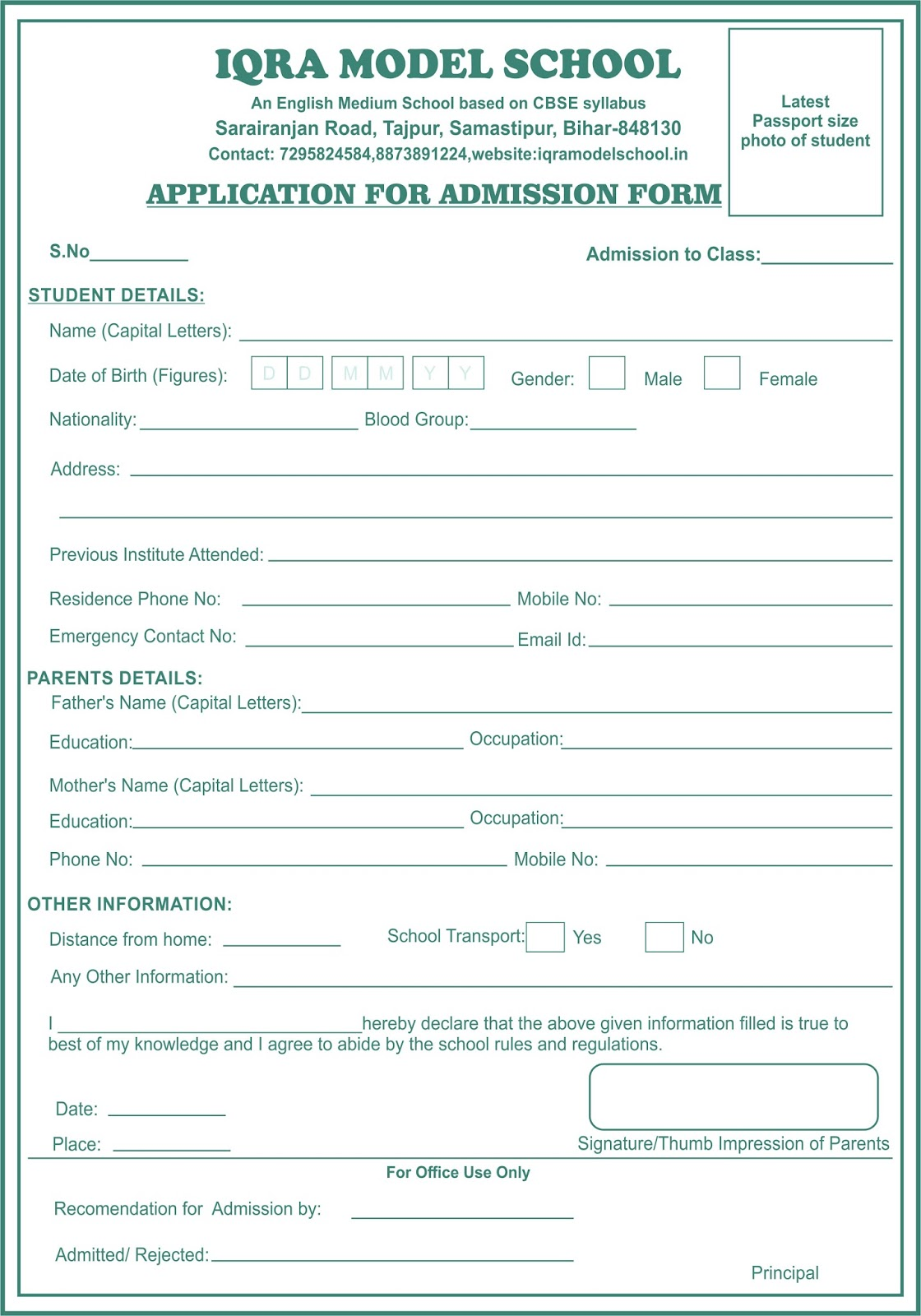 Admission Form For School Iqra Model School